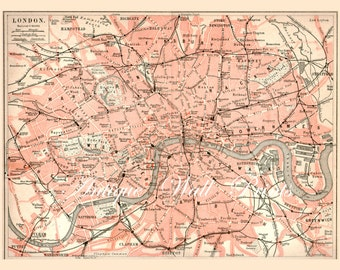 LONDON Map Antique Map A5 to A0 sizes 11 x 8 inches Poster Print pink