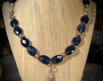 CLEARANCE Semi Precious Deep Blue Rutilate Quartz,  Bali Silver Beads and Sterling Silver Discs on 22 Inch Necklace
