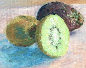 Set of Three Oil miniatures 10x10cm. Fruit colour or color studies with Lemon and LIme, Kiwifruit and Avocado and Passionfruit