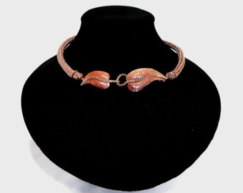 Viking Knit Necklace in Copper