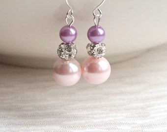 Lavender Earrings, Purple and blush jewelry, Christmas gift, Blush Pearl Earrings, Bridesmaid Gift, Pearl jewelry, Blush pearl earrings