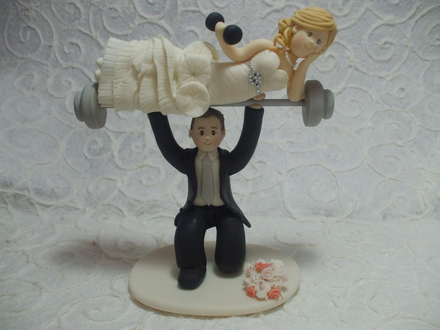 fitness themed wedding cake topper deposit weight lifting groom with on barbells 14303
