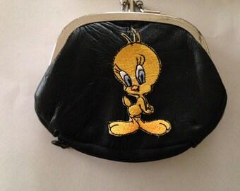Tweety Bird Design Black Leather Change Purse tweety