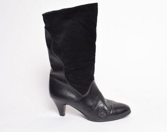 Vintage 80's Black Genuine Leather Heel Boots