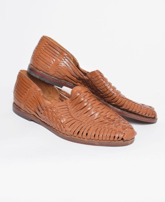 s vintage leather wicker sandal shoes