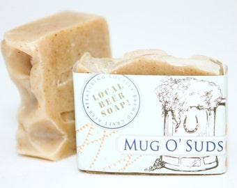 "Cold Process Vegan Beer Soap, ""Mug O' Suds"" soap, Handmade, Victoria BC, Vancouver Island"