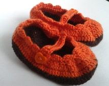 Baby  Booties , 0 - 3 months, chocolate brown , orange,  Handmade crochet