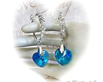 Heart Crystal Earrings, Something Blue Bridal Earrings, Dangle Earrings Wedding Jewelry