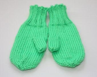 Knit Kids Mittens - Neon Green Mittens with String -  Lime Green Mittens - Knit Mittens with Cord - Kids Winter Mittens - Childrens Mittens