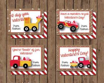 Boy Valentine Cards - PRINTABLE - Construction - Monster Truck - Tractor - Modern - Personalized