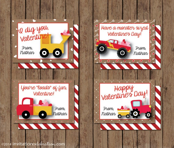 Tractor Valentine Cards : Boy valentine cards printable construction monster