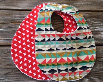Baby/Toddler Bibs ~ You Choose 1 or Both! ~ Native//Geo//Serape//Plus//Neutral//Cross//Triangle//Tribal