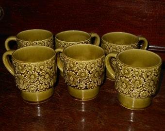 Mid Century Set of 6 Olive Green Mugs