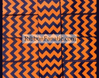 "5  yds 7/8"" Orange and Navy Blue Chevron Stripe Grosgrain Ribbon"