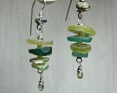 roman glass & green sapphire earrings