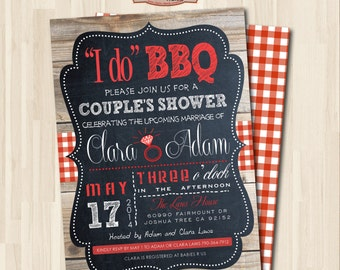 I do BBQ. COUPLE'S SHOWER Invitation. Digital Printable Card