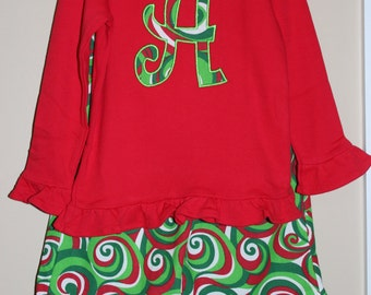 Girls Christmas Ruffled Pants Outfit