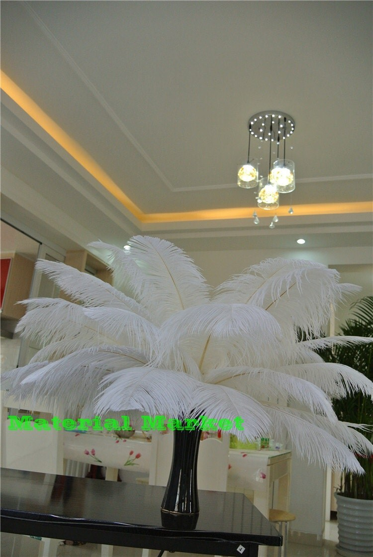 Inch white ostrich feathers for wedding centerpiece
