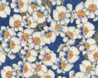 HALF YARD CHERRY Blossom Quilting Cotton - Birds and Blossoms - Cherry Blossom Blue Gold