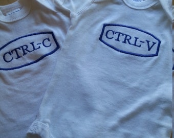 Twin onesie  custom embroidered Ctrl -c Ctrl-v