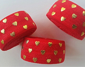 5/8 RED with Gold Polka Hearts Fold Over Elastic