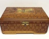 Vintage box decoupage mirrored box carved flowers trinket jewelry box