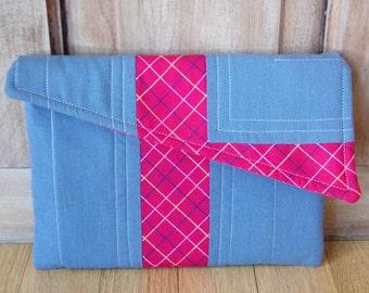 Asymmetrical Menswear Pocket Clutch, Menswear Tablet Cover, Asymmetrical Tablet Cover, 7in Tablet Cover, Soft Tablet Case