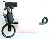 Dog Toilet Roll Holder with Dog Sitting on Toilet