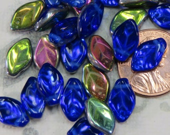 Dark Blue With Vitral Czech Glass Leaves, 24 Beads - Item 1092