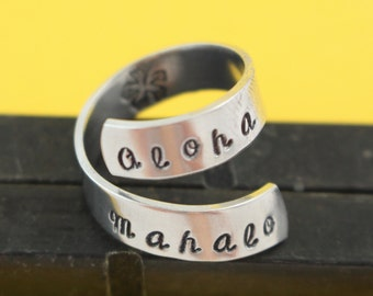SALE - Aloha Mahalo Wrap Ring - Adjustable Twist Aluminum Ring - Hand Stamped Ring