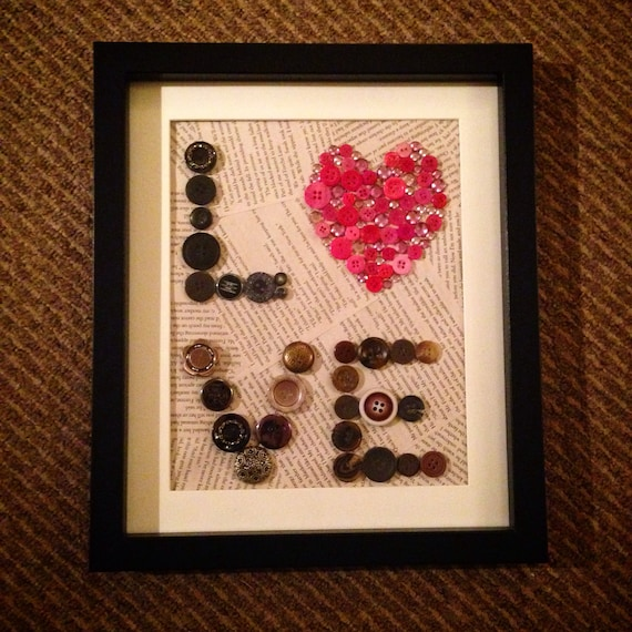 Vintage Button Wall Decor : Vintage button large wall art with gems love by