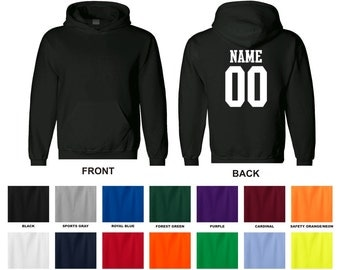 Personalized custom adult hoodie hooded sweatshirt, front blank, choose the name and number for back 0003
