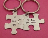 I Love You I Love You More Puzzle Piece Key Chain Set Hand Stamped Couples Set His and Hers