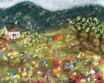 Wash Day, Embroidered Painting With Wool