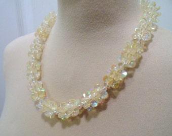 60s Aurora Borealis Bead Necklace Barrel Clasp Sparkly GlitterRound Beads Flat Discs Colorful 50s