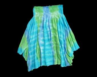 Womens rayon hankie hem skirt- tie-dye