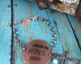 Strength Runs Deep Quote Metal Stamped Bracelet with Silver Chain and Charms