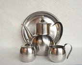 Vintage Wm Rogers Coffee Pot Set - Stainless Steel Coffee or Tea Set with Tray- Black and Silver