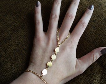 Gold slave bracelet, bracelet ring, slave ring, ring connected to bracelet. New fashion Boho. Wedding accessories