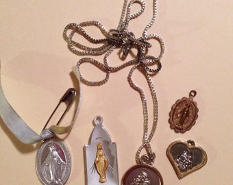 Vintage Religious Medal Assortment of 5