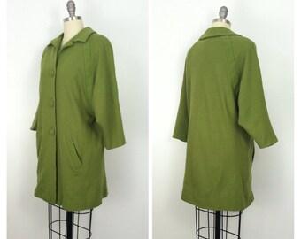 40s Green Jacket / 1940s Vintage Wool Bat Wing Quarter Sleeve Button Up Coat / Medium - Large