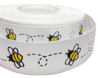 Bee Ribbon for Sewing / Crafts / Clips / Hairbows (15 Yards White Grosgrain with Bumblebee Prints). Free Shipping.