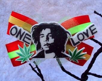 Bob Marley ONE LOVE Hair Bow, Rasta and Reggae, 420 Jewelry, cute, uniue