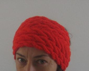 Knit Headband. Cable Knit Ears Warmer. Red Headband. Free Shiping.