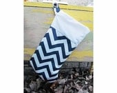 READY TO SHIP - Navy and White Christmas Stocking