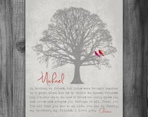 Personalized BROTHER GIFT Print Gift for Brother Family Tree Birds Groomsmen Gift Poem for Brother Birthday Masculine From Sister Rustic