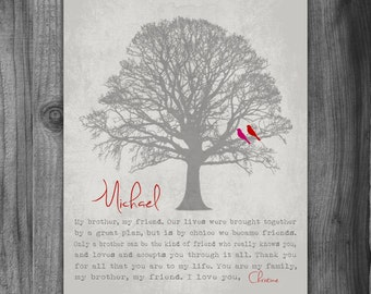 Personalized BROTHER GIFT Print Canvas Gift for Brother Family Tree Birds Groomsmen Gift Poem for Brother Birthday Masculine From Sister