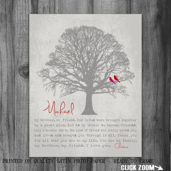 Special Wedding Gift Ideas For Brother : Personalized BROTHER GIFT Print Gift for Brother Family Tree Birds ...