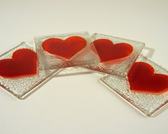"Fused Glass Red Heart Coasters 10x10cm (4x4"") - Set of 4 coasters"