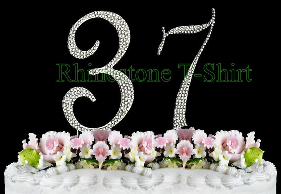 37th Wedding Anniversary Gifts: New Large Rhinestone NUMBER 37 Cake Topper 37th Birthday